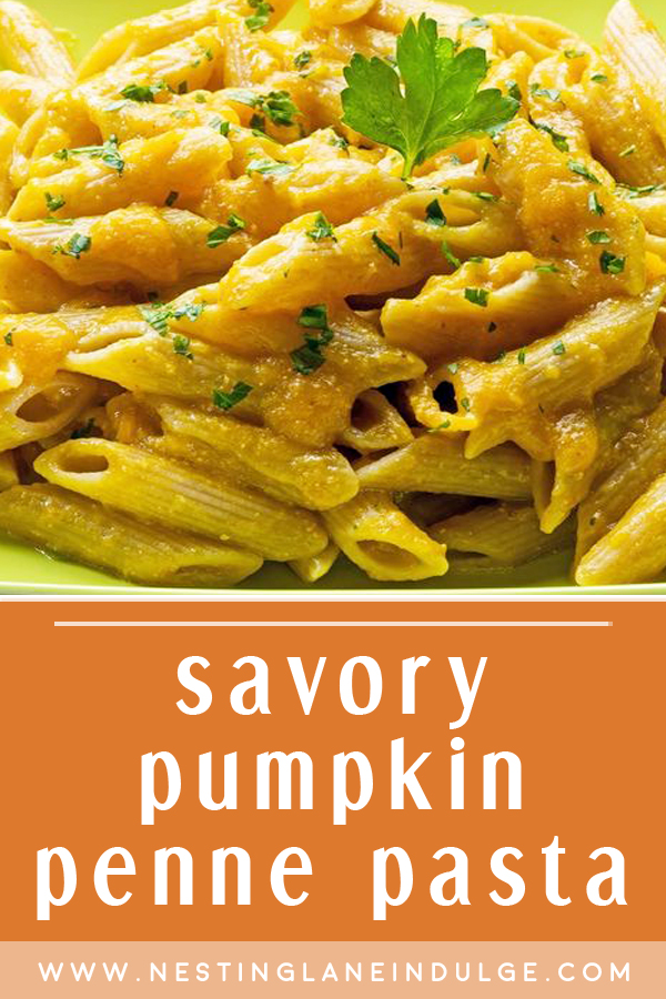 Graphic for Pinterest of Savory Pumpkin Penne Pasta