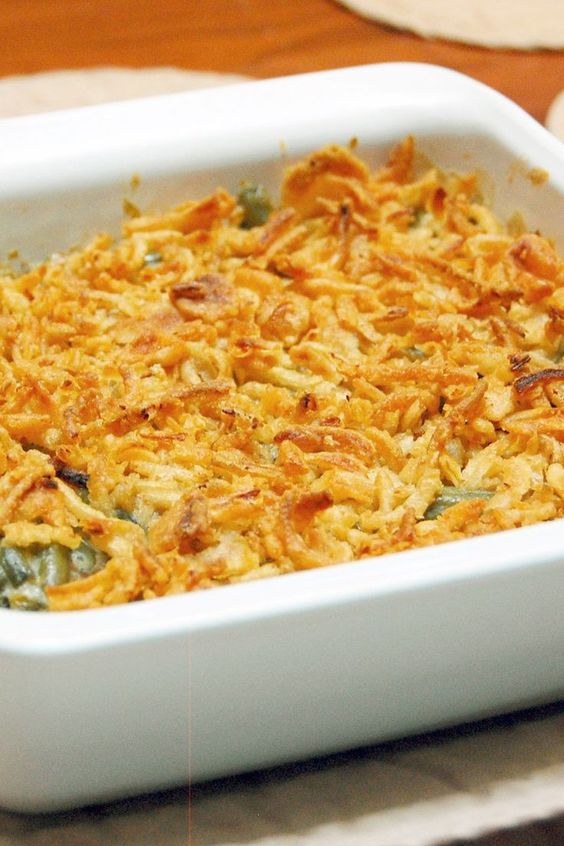 Quick and Easy Green Bean Casserole in a square white dish