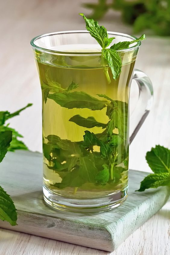 Moroccan Style Mint Green Tea in a clear glass