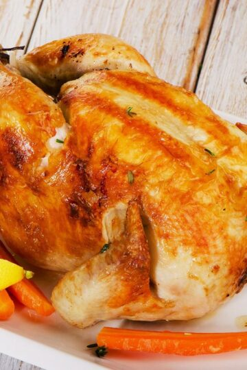 Closeup of roasted chicken